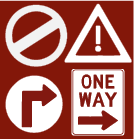 Red and white cartoon drawing of traffic signs - no entry, hazard, right turn and one way