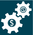 Dark green-blue and white cartoon drawing of two cogs turning with dollar signs