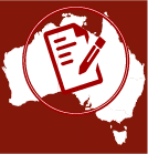 Red and white cartoon drawing of map of Australia overlaid with a circle around a piece of paper and pen