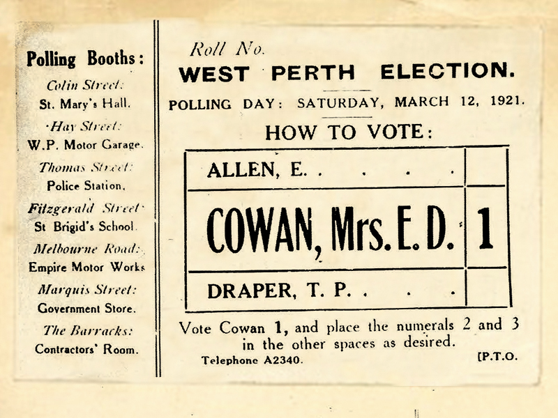 How to vote card with Edith Cowan's name and the number 1