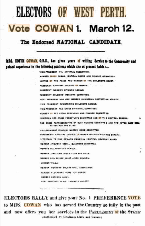 Election ad from newspaper listing organisations Edith Cowan worked with
