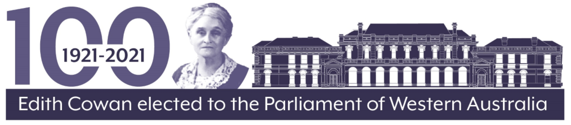 Purple banner with image of Edith Cowan next to image of parliament house