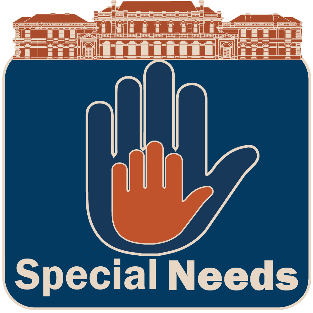 A hand placed within an outline of another hand, representing support resources for special needs students