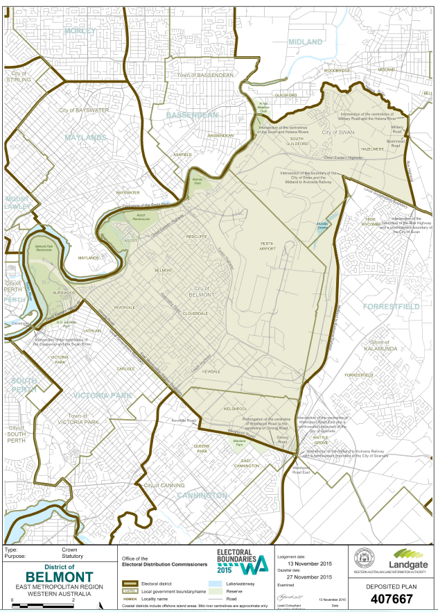 Belmont Electorate map