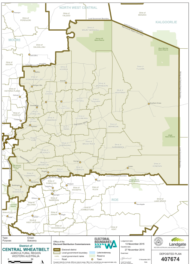 Central Wheatbelt Electorate map